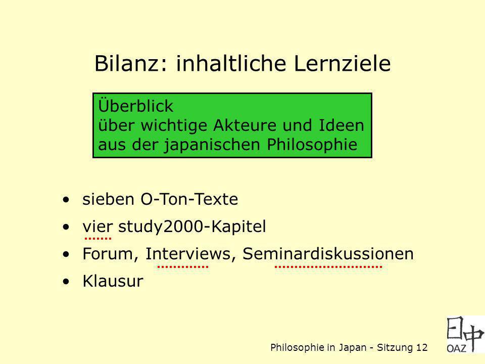 Philosophie in Japan - Sitzung 12 Bilanz: inhaltliche Lernziele sieben O-Ton-Texte vier study2000-Kapitel Forum, Interviews, Seminardiskussionen Klaus
