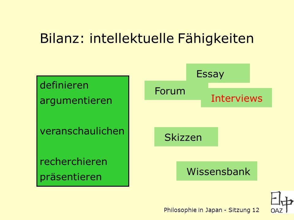 Philosophie in Japan - Sitzung 12 Bilanz: intellektuelle Fähigkeiten Forum definieren argumentieren veranschaulichen recherchieren präsentieren Interviews Skizzen Essay Wissensbank