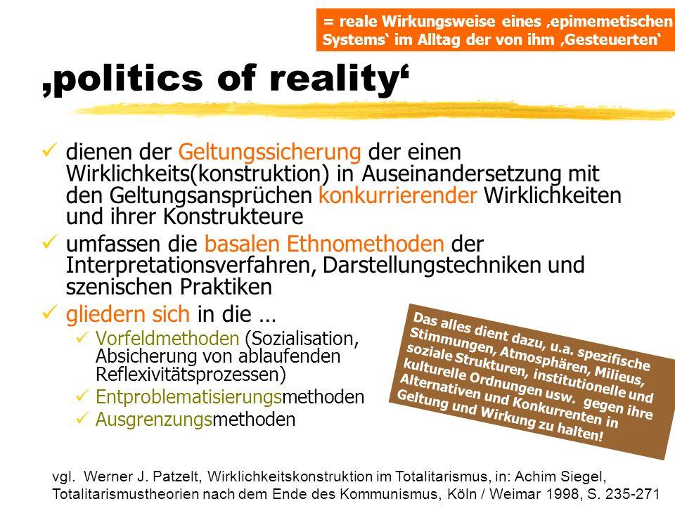 politics of reality dienen der Geltungssicherung der einen Wirklichkeits(konstruktion) in Auseinandersetzung mit den Geltungsansprüchen konkurrierende
