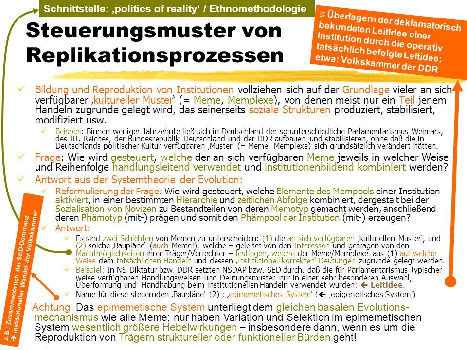 TU Dresden – Institut für Politikwissenschaft – Prof. Dr. Werner J. Patzelt Schnittstelle: politics of reality / Ethnomethodologie Steuerungsmuster vo