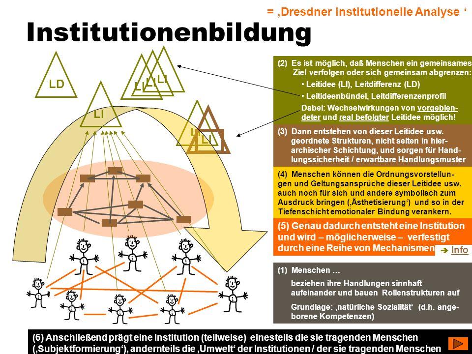 TU Dresden – Institut für Politikwissenschaft – Prof. Dr. Werner J. Patzelt LI Institutionenbildung (1) Menschen … beziehen ihre Handlungen sinnhaft a