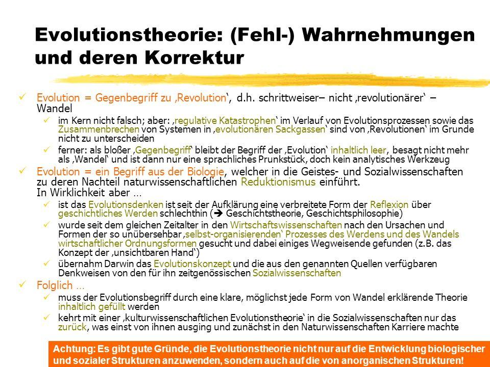 TU Dresden – Institut für Politikwissenschaft – Prof. Dr. Werner J. Patzelt Evolutionstheorie: (Fehl-) Wahrnehmungen und deren Korrektur Evolution = G