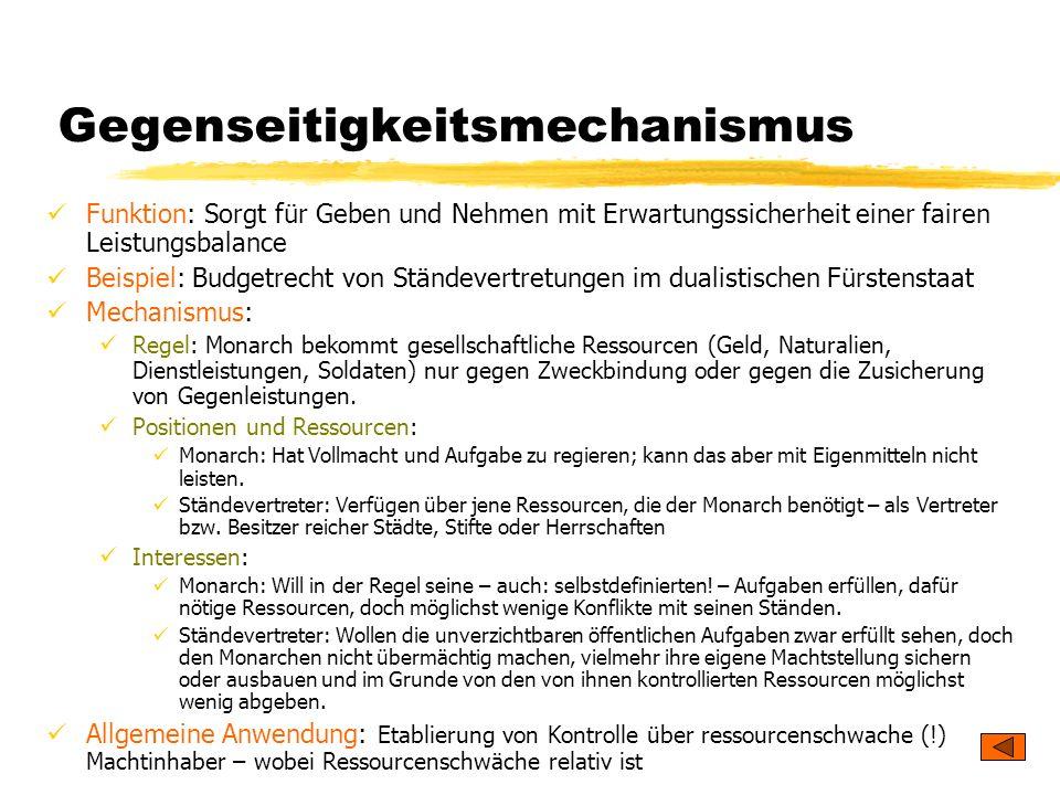 TU Dresden – Institut für Politikwissenschaft – Prof. Dr. Werner J. Patzelt Gegenseitigkeitsmechanismus Funktion: Sorgt für Geben und Nehmen mit Erwar