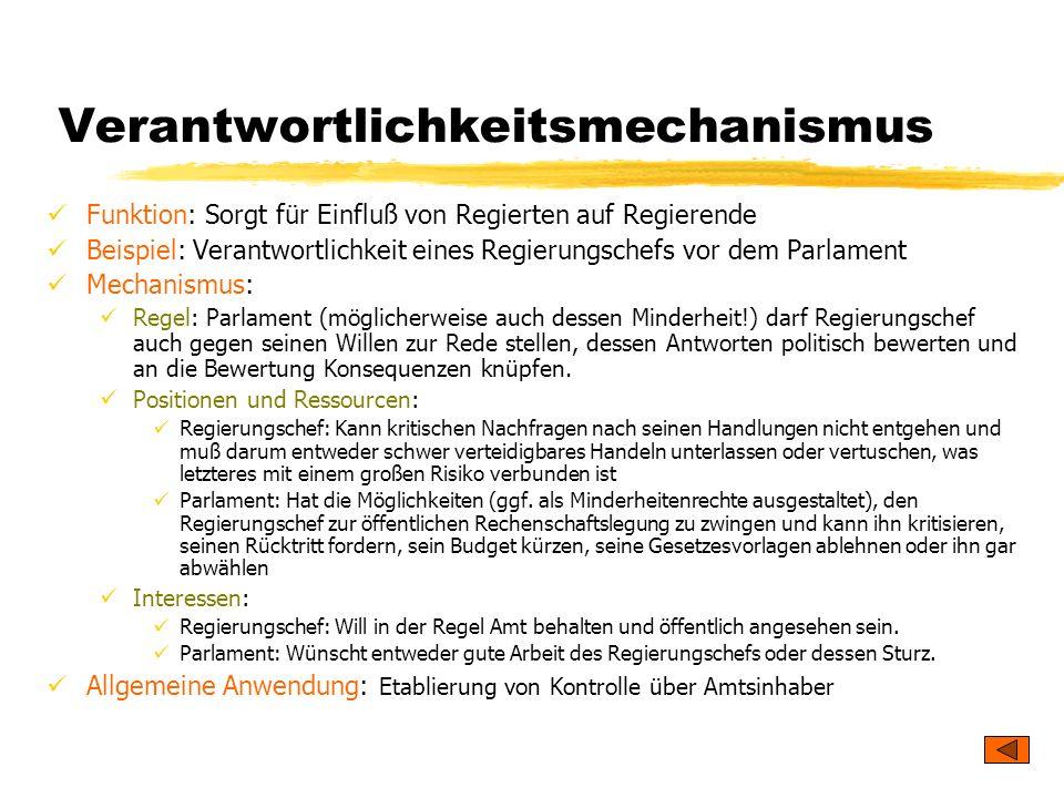 TU Dresden – Institut für Politikwissenschaft – Prof. Dr. Werner J. Patzelt Verantwortlichkeitsmechanismus Funktion: Sorgt für Einfluß von Regierten a