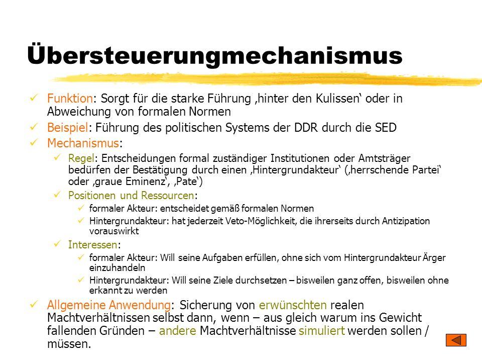 TU Dresden – Institut für Politikwissenschaft – Prof. Dr. Werner J. Patzelt Übersteuerungmechanismus Funktion: Sorgt für die starke Führung hinter den