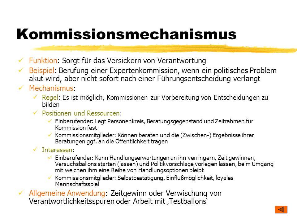 TU Dresden – Institut für Politikwissenschaft – Prof. Dr. Werner J. Patzelt Kommissionsmechanismus Funktion: Sorgt für das Versickern von Verantwortun