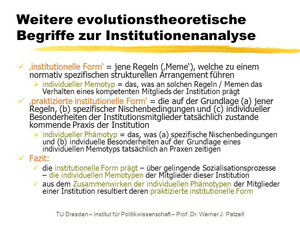 TU Dresden – Institut für Politikwissenschaft – Prof. Dr. Werner J. Patzelt Weitere evolutionstheoretische Begriffe zur Institutionenanalyse instituti