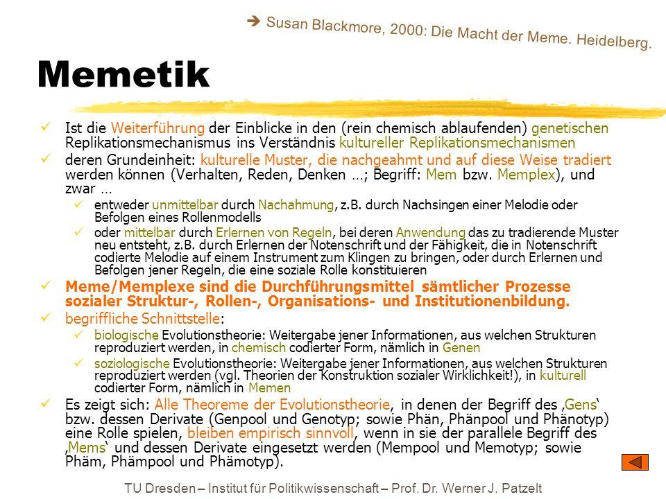 TU Dresden – Institut für Politikwissenschaft – Prof. Dr. Werner J. Patzelt Memetik Ist die Weiterführung der Einblicke in den (rein chemisch ablaufen