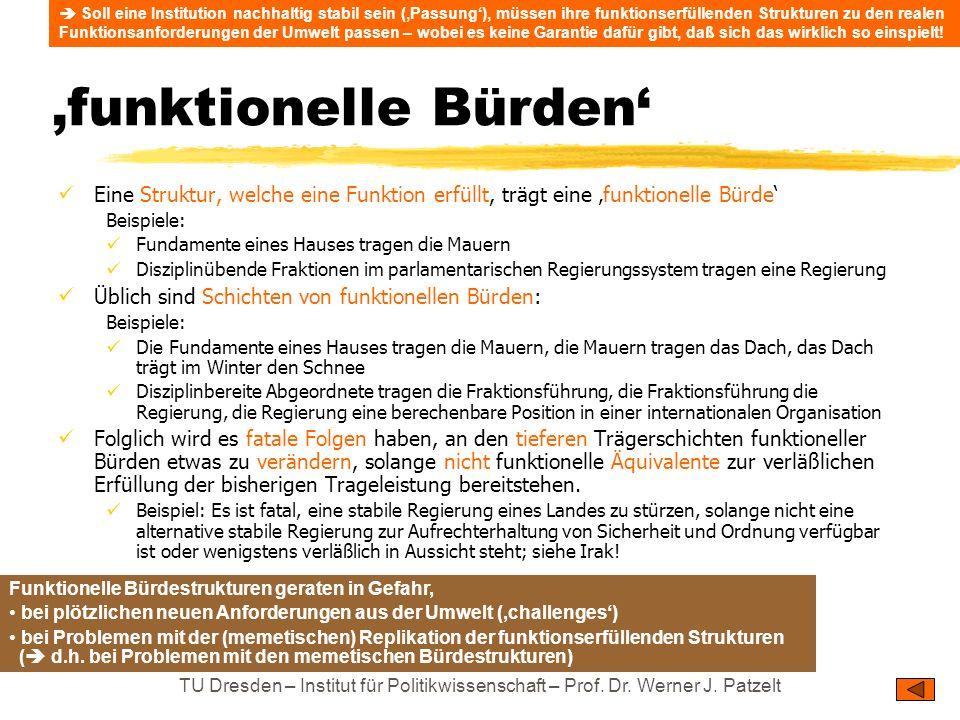 TU Dresden – Institut für Politikwissenschaft – Prof. Dr. Werner J. Patzelt funktionelle Bürden Eine Struktur, welche eine Funktion erfüllt, trägt ein