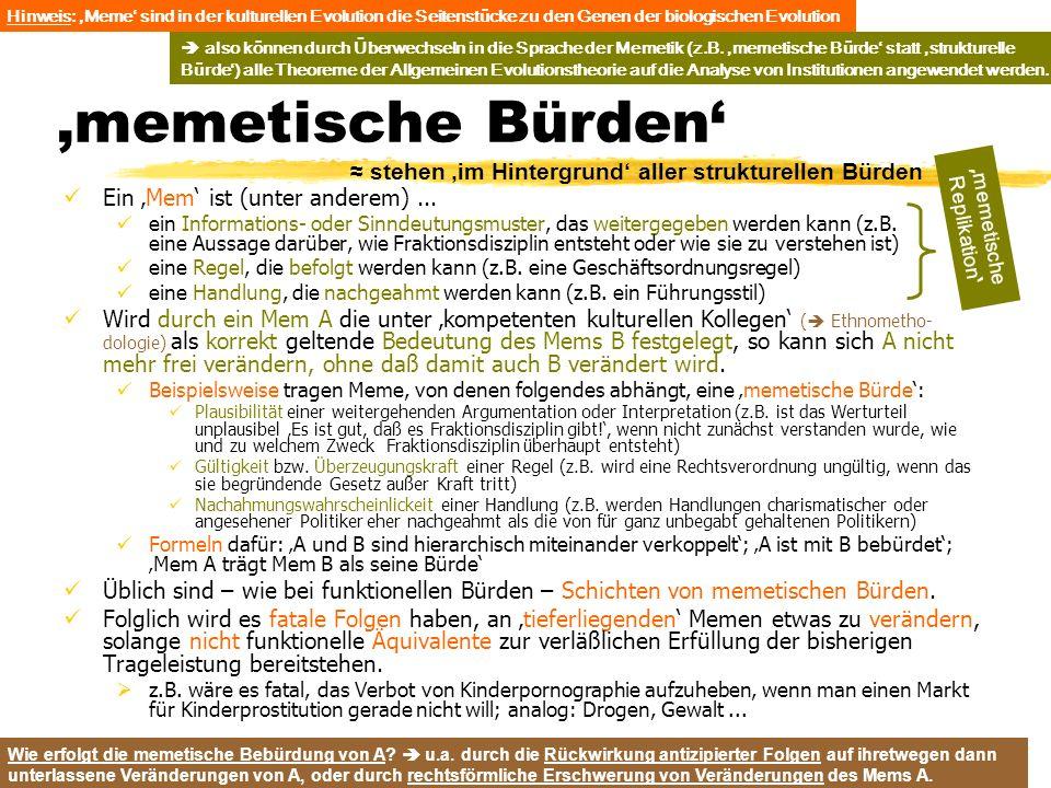 TU Dresden – Institut für Politikwissenschaft – Prof. Dr. Werner J. Patzelt memetische Bürden Ein Mem ist (unter anderem)... ein Informations- oder Si