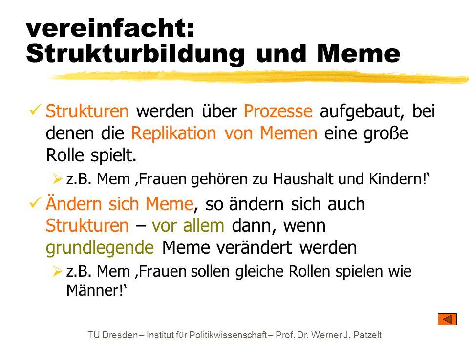 TU Dresden – Institut für Politikwissenschaft – Prof. Dr. Werner J. Patzelt vereinfacht: Strukturbildung und Meme Strukturen werden über Prozesse aufg