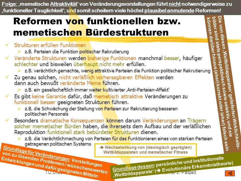 TU Dresden – Institut für Politikwissenschaft – Prof. Dr. Werner J. Patzelt Die von diesen Weltbildapparaten gelieferten Wirklichkeits- bilder sind st