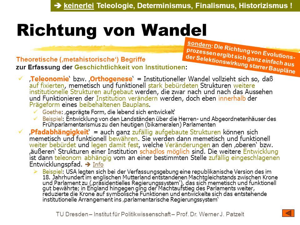 TU Dresden – Institut für Politikwissenschaft – Prof. Dr. Werner J. Patzelt Richtung von Wandel Teleonomie bzw. Orthogenese = Institutioneller Wandel