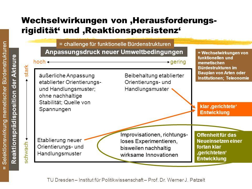 TU Dresden – Institut für Politikwissenschaft – Prof. Dr. Werner J. Patzelt Wechselwirkungen von Herausforderungs- rigidität und Reaktionspersistenz A