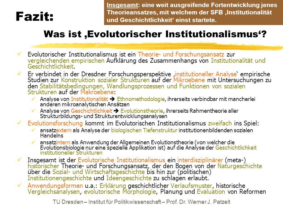 Fazit: Was ist Evolutorischer Institutionalismus? Evolutorischer Institutionalismus ist ein Theorie- und Forschungsansatz zur vergleichenden empirisch