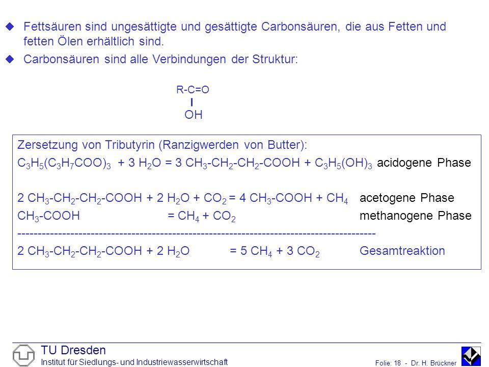 TU Dresden Institut für Siedlungs- und Industriewasserwirtschaft Folie: 18 - Dr. H. Brückner R-C=O ¨Fettsäuren sind ungesättigte und gesättigte Carbon