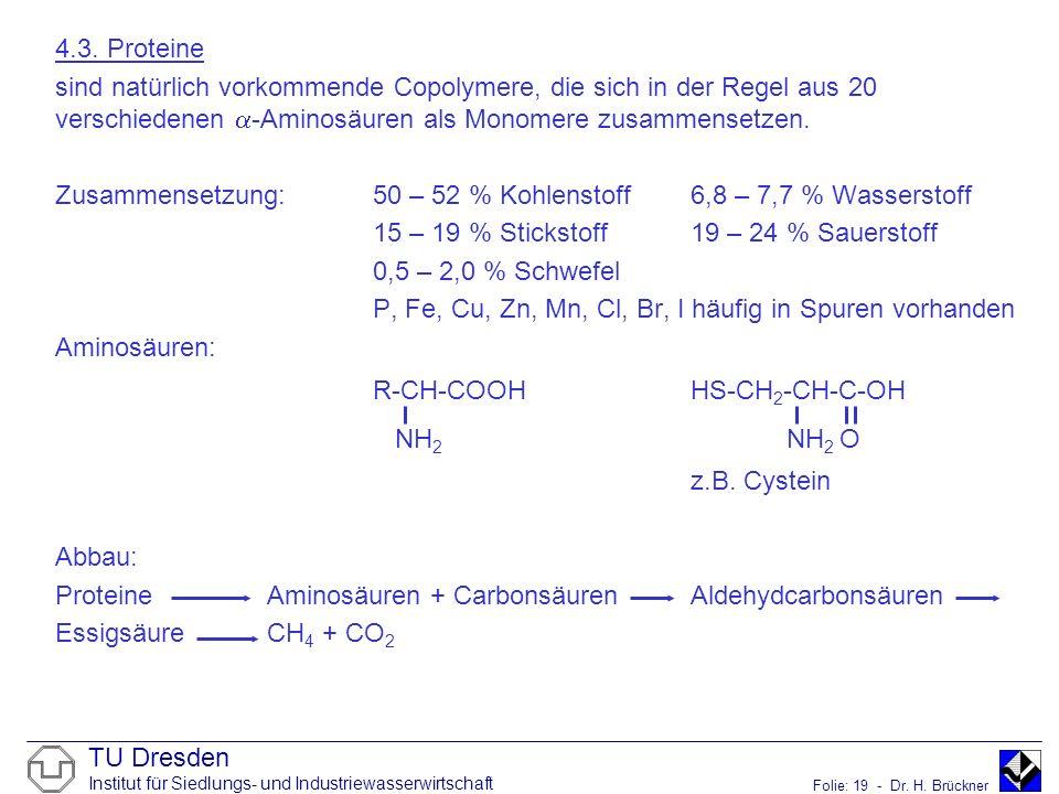 TU Dresden Institut für Siedlungs- und Industriewasserwirtschaft Folie: 19 - Dr. H. Brückner 4.3. Proteine sind natürlich vorkommende Copolymere, die