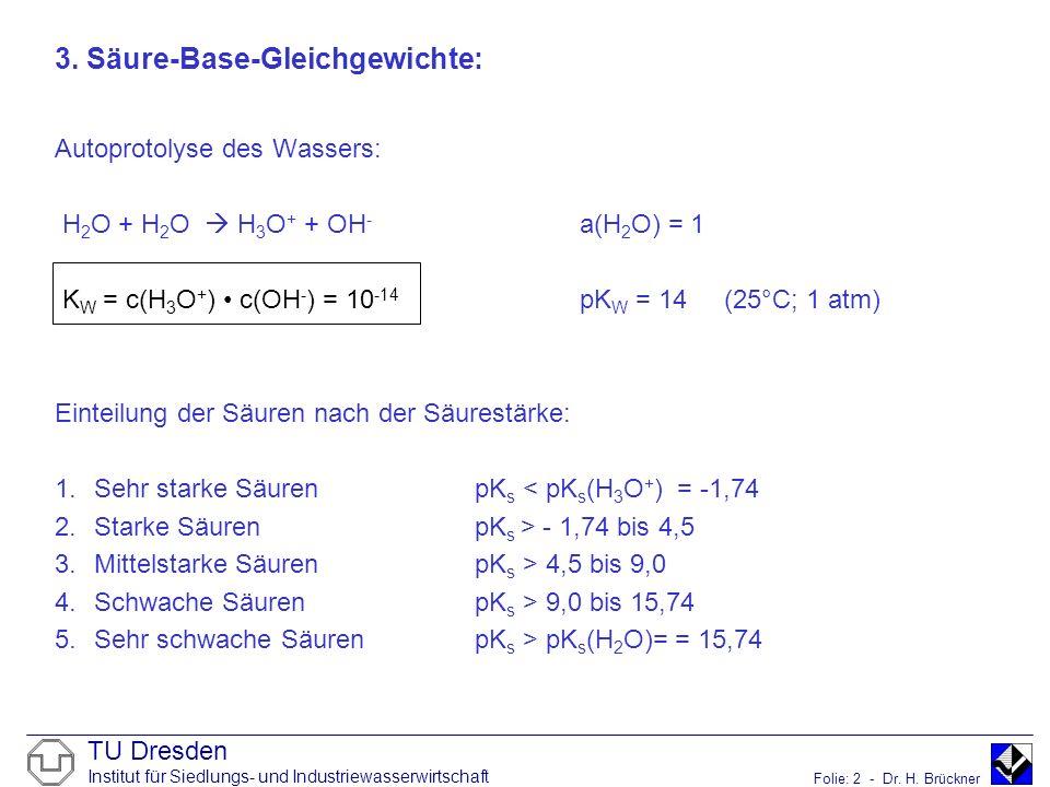 TU Dresden Institut für Siedlungs- und Industriewasserwirtschaft Folie: 2 - Dr. H. Brückner 3. Säure-Base-Gleichgewichte: Autoprotolyse des Wassers: H