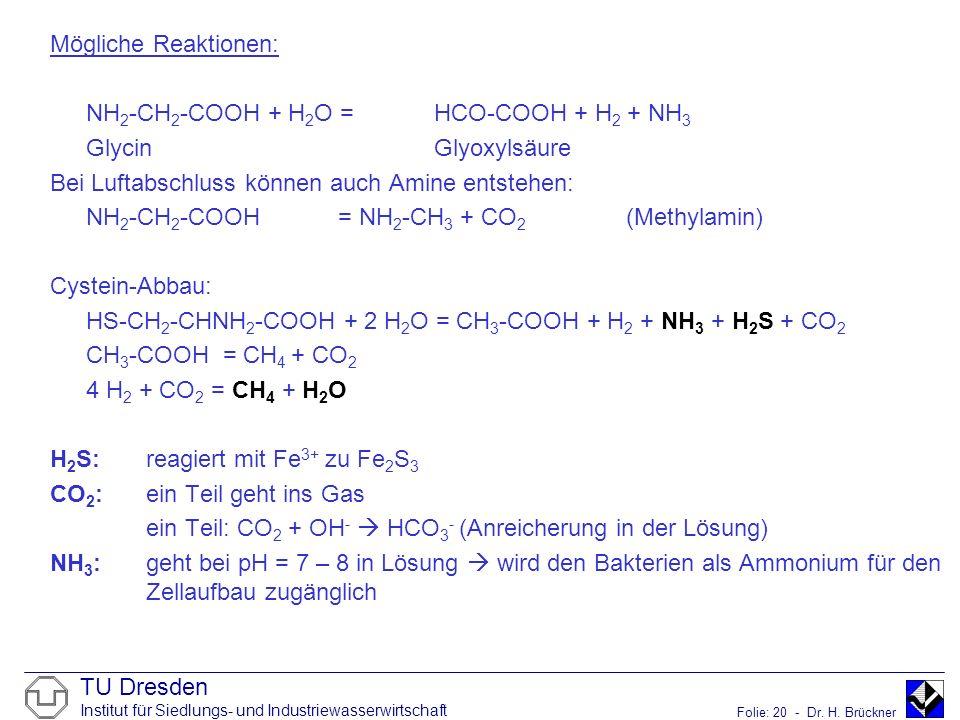 TU Dresden Institut für Siedlungs- und Industriewasserwirtschaft Folie: 20 - Dr. H. Brückner Mögliche Reaktionen: NH 2 -CH 2 -COOH + H 2 O =HCO-COOH +