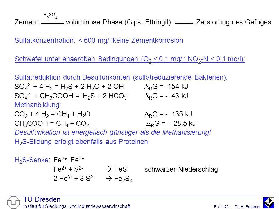 TU Dresden Institut für Siedlungs- und Industriewasserwirtschaft Folie: 25 - Dr. H. Brückner Zement voluminöse Phase (Gips, Ettringit) Zerstörung des