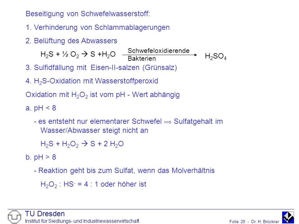 TU Dresden Institut für Siedlungs- und Industriewasserwirtschaft Folie: 29 - Dr. H. Brückner Beseitigung von Schwefelwasserstoff: 1. Verhinderung von