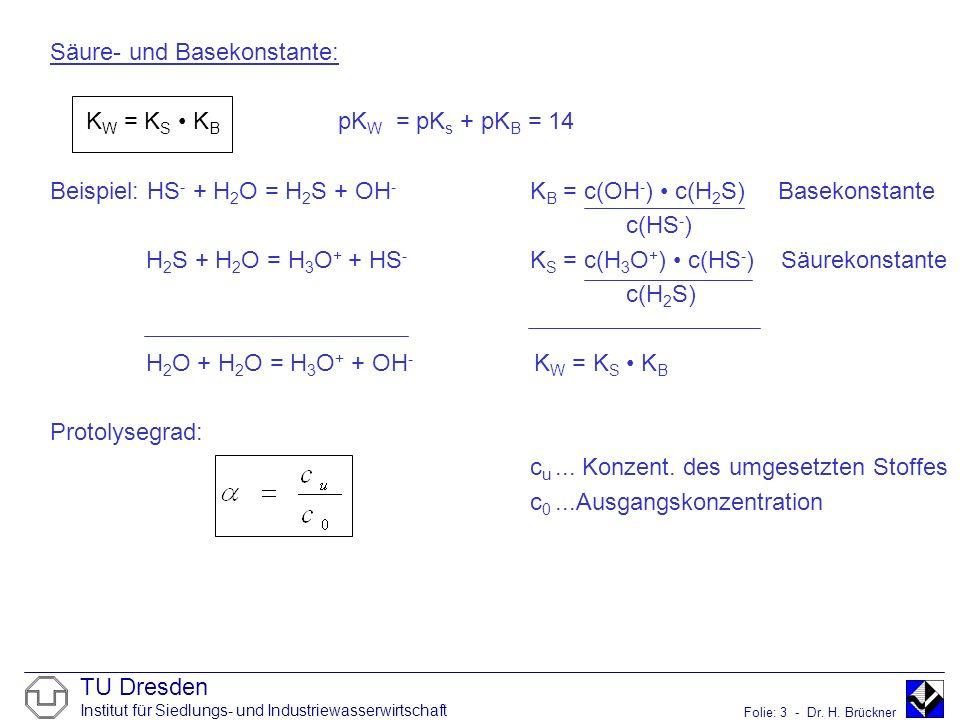TU Dresden Institut für Siedlungs- und Industriewasserwirtschaft Folie: 3 - Dr. H. Brückner Säure- und Basekonstante: K W = K S K B pK W = pK s + pK B