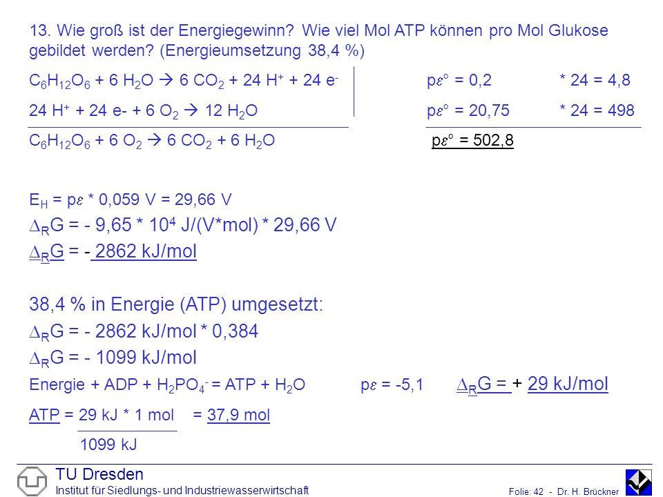 TU Dresden Institut für Siedlungs- und Industriewasserwirtschaft Folie: 42 - Dr. H. Brückner 13. Wie groß ist der Energiegewinn? Wie viel Mol ATP könn