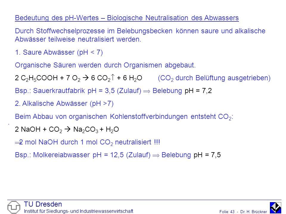 TU Dresden Institut für Siedlungs- und Industriewasserwirtschaft Folie: 43 - Dr. H. Brückner. Bedeutung des pH-Wertes – Biologische Neutralisation des
