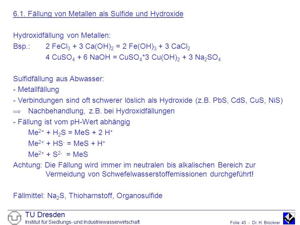 TU Dresden Institut für Siedlungs- und Industriewasserwirtschaft Folie: 45 - Dr. H. Brückner 6.1. Fällung von Metallen als Sulfide und Hydroxide Hydro