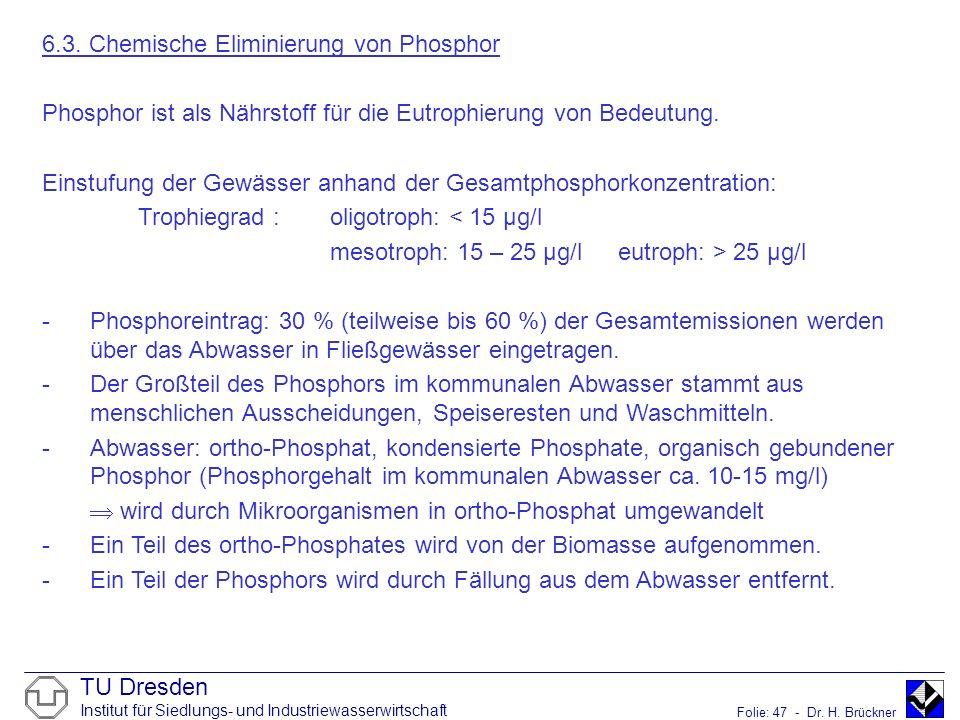 TU Dresden Institut für Siedlungs- und Industriewasserwirtschaft Folie: 47 - Dr. H. Brückner 6.3. Chemische Eliminierung von Phosphor Phosphor ist als