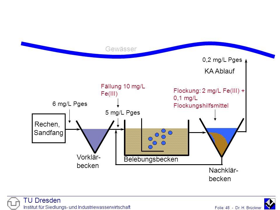 TU Dresden Institut für Siedlungs- und Industriewasserwirtschaft Folie: 48 - Dr. H. Brückner Gewässer KA Ablauf Rechen, Sandfang Belebungsbecken Nachk