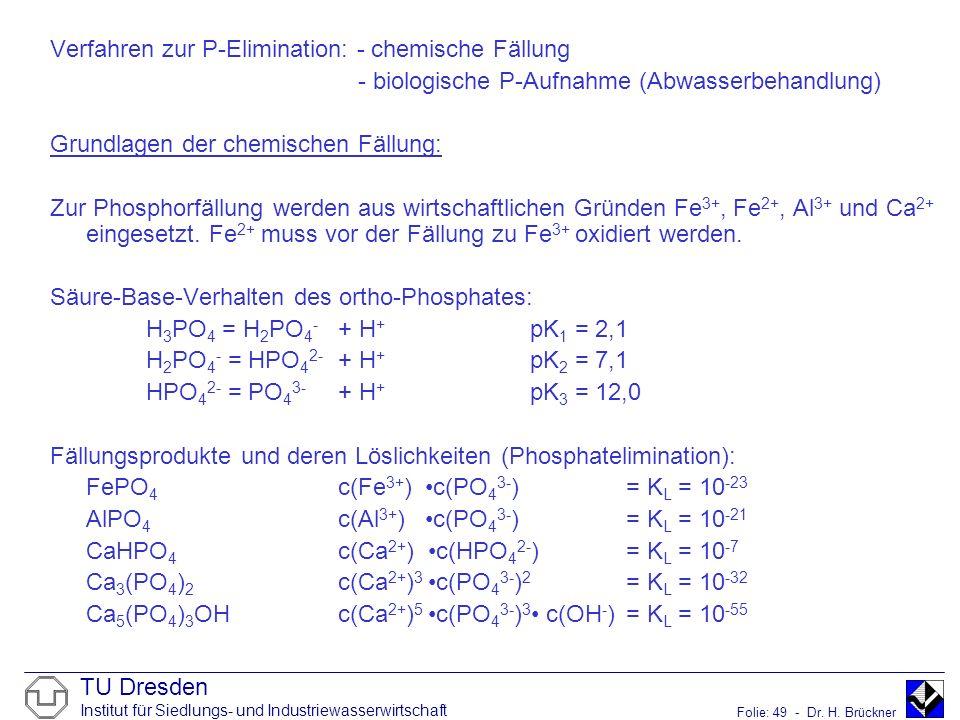 TU Dresden Institut für Siedlungs- und Industriewasserwirtschaft Folie: 49 - Dr. H. Brückner Verfahren zur P-Elimination: - chemische Fällung - biolog