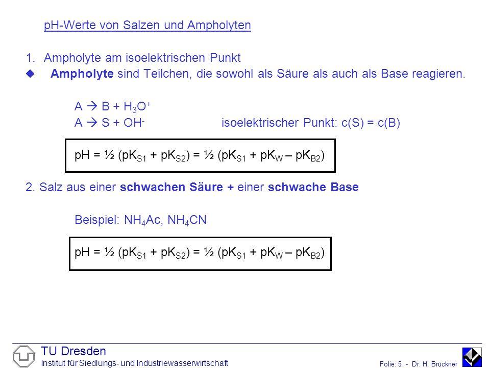 TU Dresden Institut für Siedlungs- und Industriewasserwirtschaft Folie: 5 - Dr. H. Brückner pH-Werte von Salzen und Ampholyten 1.Ampholyte am isoelekt