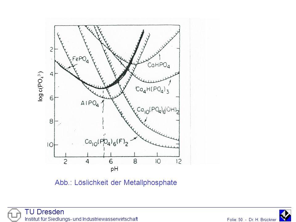 TU Dresden Institut für Siedlungs- und Industriewasserwirtschaft Folie: 50 - Dr. H. Brückner Abb.: Löslichkeit der Metallphosphate pH log c(PO 4 3- )