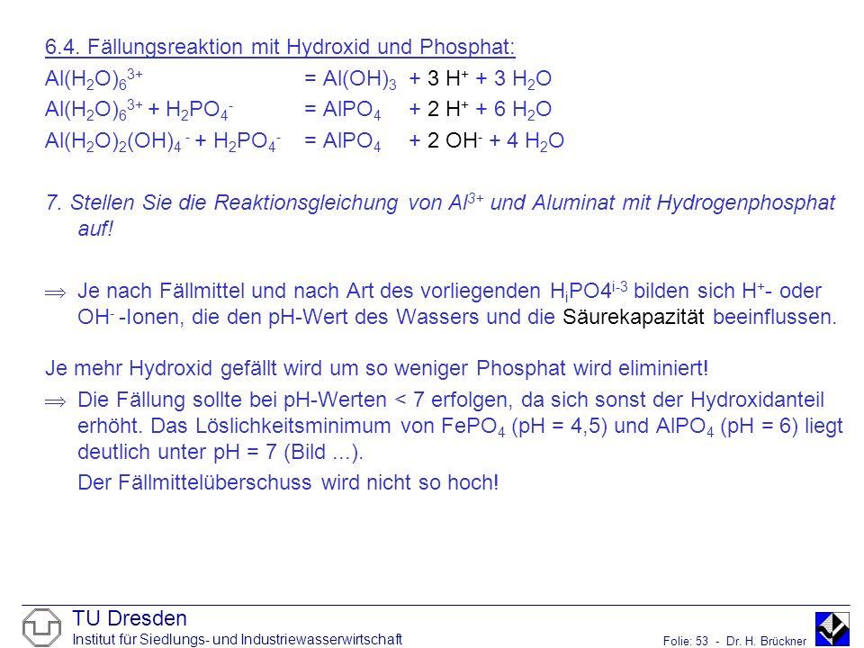 TU Dresden Institut für Siedlungs- und Industriewasserwirtschaft Folie: 53 - Dr. H. Brückner 6.4. Fällungsreaktion mit Hydroxid und Phosphat: Al(H 2 O
