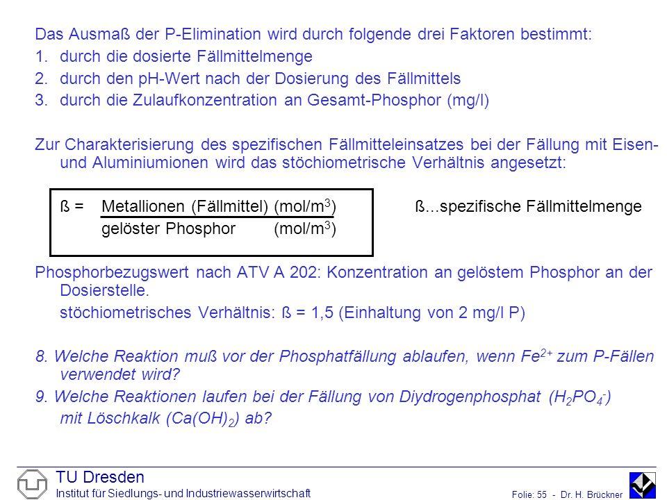 TU Dresden Institut für Siedlungs- und Industriewasserwirtschaft Folie: 55 - Dr. H. Brückner Das Ausmaß der P-Elimination wird durch folgende drei Fak