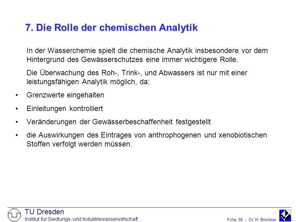 TU Dresden Institut für Siedlungs- und Industriewasserwirtschaft Folie: 58 - Dr. H. Brückner 7. Die Rolle der chemischen Analytik In der Wasserchemie
