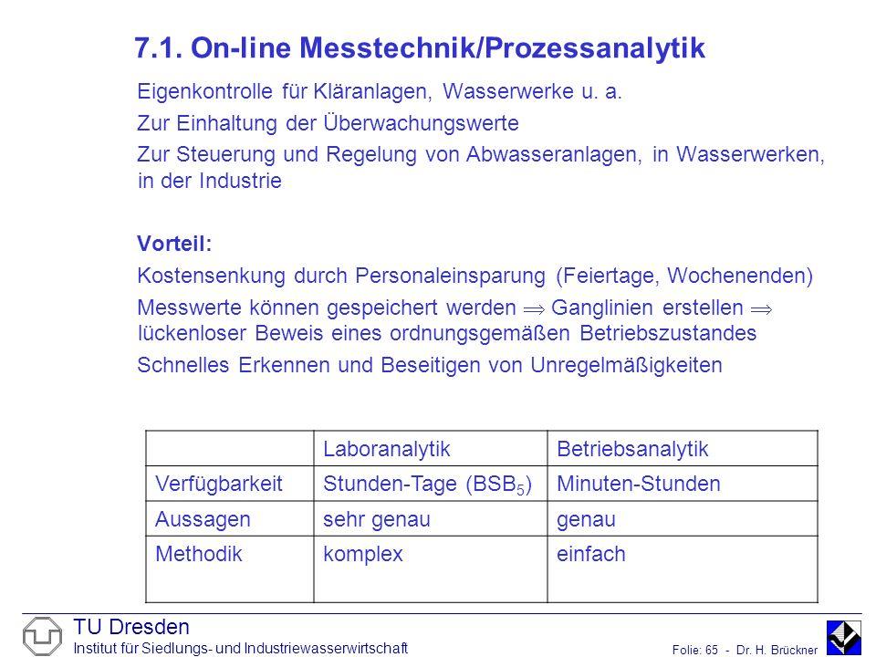 TU Dresden Institut für Siedlungs- und Industriewasserwirtschaft Folie: 65 - Dr. H. Brückner 7.1. On-line Messtechnik/Prozessanalytik Eigenkontrolle f