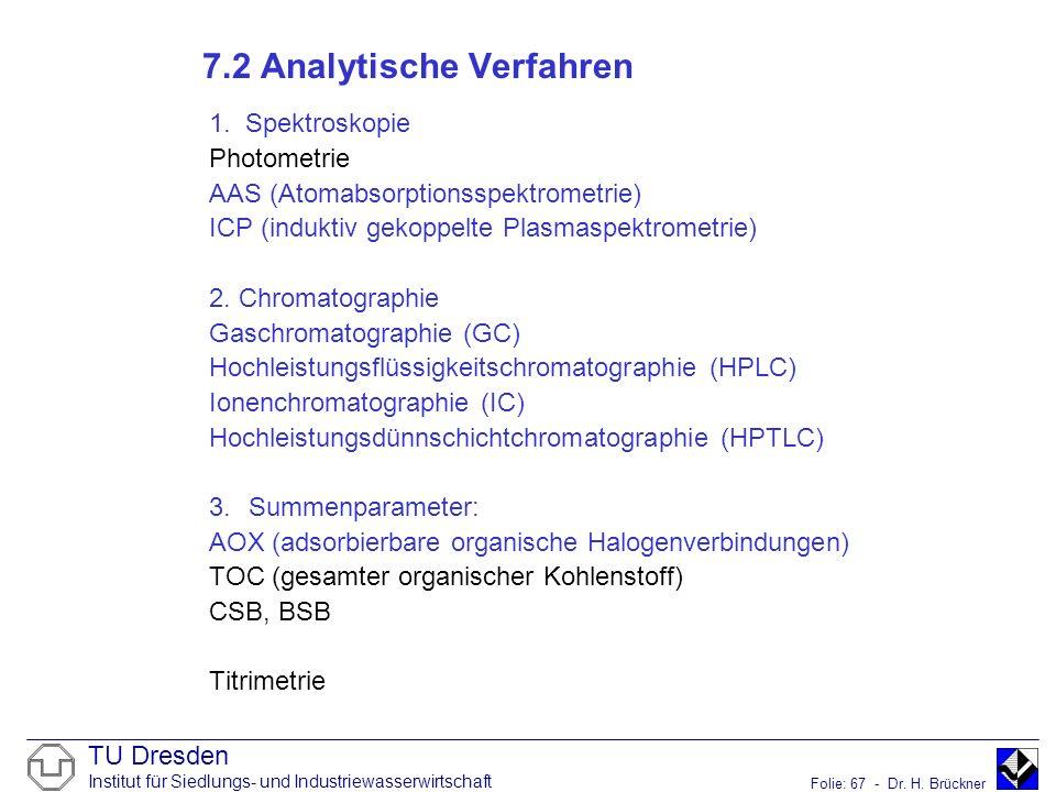 TU Dresden Institut für Siedlungs- und Industriewasserwirtschaft Folie: 67 - Dr. H. Brückner 7.2 Analytische Verfahren 1. Spektroskopie Photometrie AA