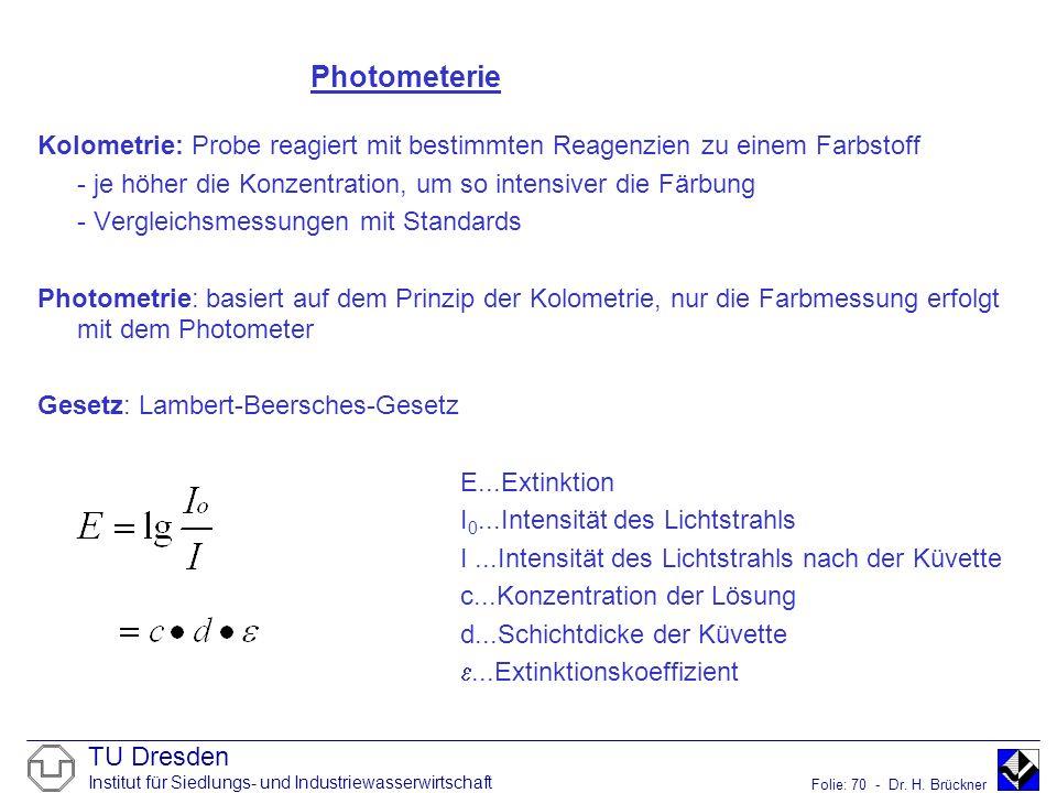 TU Dresden Institut für Siedlungs- und Industriewasserwirtschaft Folie: 70 - Dr. H. Brückner Photometerie Kolometrie: Probe reagiert mit bestimmten Re