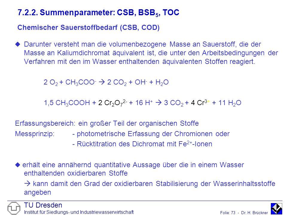 TU Dresden Institut für Siedlungs- und Industriewasserwirtschaft Folie: 73 - Dr. H. Brückner Chemischer Sauerstoffbedarf (CSB, COD) Darunter versteht