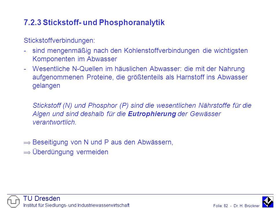 TU Dresden Institut für Siedlungs- und Industriewasserwirtschaft Folie: 82 - Dr. H. Brückner 7.2.3 Stickstoff- und Phosphoranalytik Stickstoffverbindu
