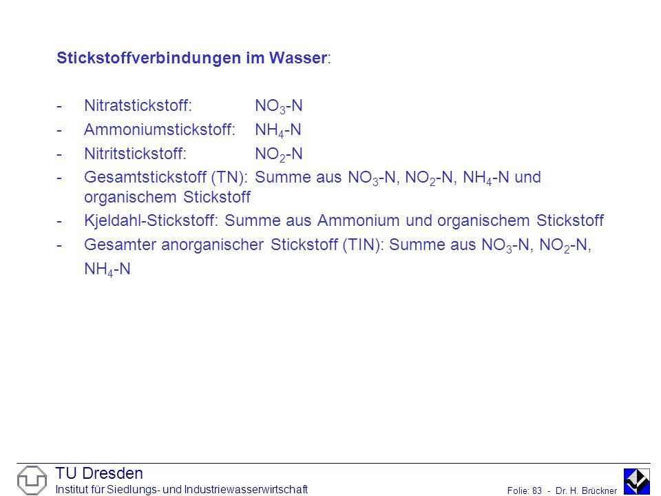 TU Dresden Institut für Siedlungs- und Industriewasserwirtschaft Folie: 83 - Dr. H. Brückner Stickstoffverbindungen im Wasser: -Nitratstickstoff: NO 3