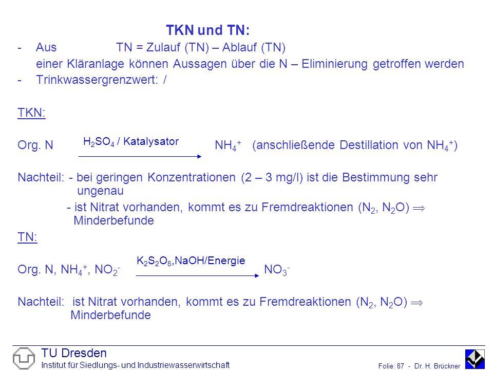 TU Dresden Institut für Siedlungs- und Industriewasserwirtschaft Folie: 87 - Dr. H. Brückner TKN und TN: -AusTN = Zulauf (TN) – Ablauf (TN) einer Klär