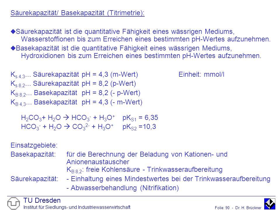 TU Dresden Institut für Siedlungs- und Industriewasserwirtschaft Folie: 90 - Dr. H. Brückner Säurekapazität/ Basekapazität (Titrimetrie): Säurekapazit