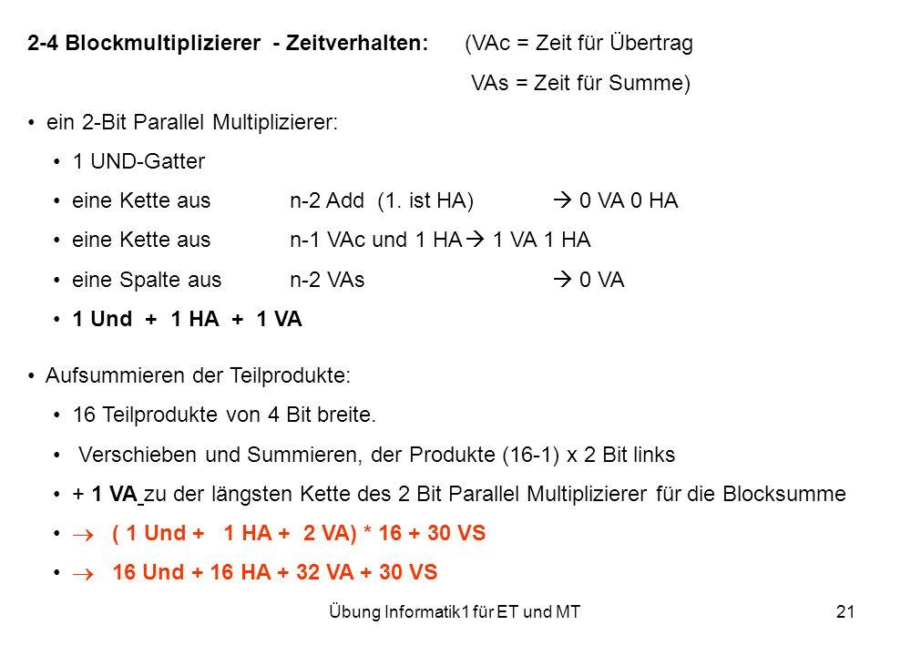 Übung Informatik1 für ET und MT21 2-4 Blockmultiplizierer - Zeitverhalten:(VAc = Zeit für Übertrag VAs = Zeit für Summe) ein 2-Bit Parallel Multiplizierer: 1 UND-Gatter eine Kette ausn-2 Add(1.