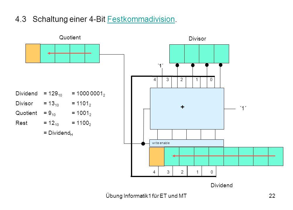 Übung Informatik1 für ET und MT22 4.3 Schaltung einer 4-Bit Festkommadivision.Festkommadivision ´1´ 4 3 2 1 0 Dividend Divisor Quotient ´1´ write enable + Dividend= 129 10 = 1000 0001 2 Divisor= 13 10 = 1101 2 Quotient= 9 10 = 1001 2 Rest= 12 10 = 1100 2 = Dividend H