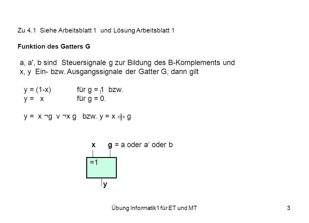 Übung Informatik1 für ET und MT3 Zu 4.1 Siehe Arbeitsblatt 1 und Lösung Arbeitsblatt 1 Funktion des Gatters G a, a , b sind Steuersignale g zur Bildung des B-Komplements und x, y Ein- bzw.