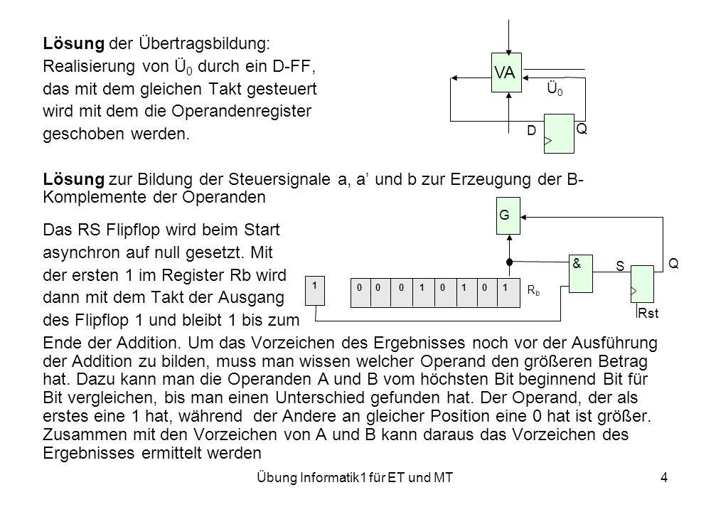 Übung Informatik1 für ET und MT4 Lösung der Übertragsbildung: Realisierung von Ü 0 durch ein D-FF, das mit dem gleichen Takt gesteuert wird mit dem die Operandenregister geschoben werden.
