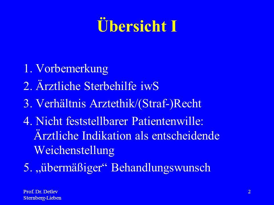 Prof.Dr. Detlev Sternberg-Lieben 2 Übersicht I 1.